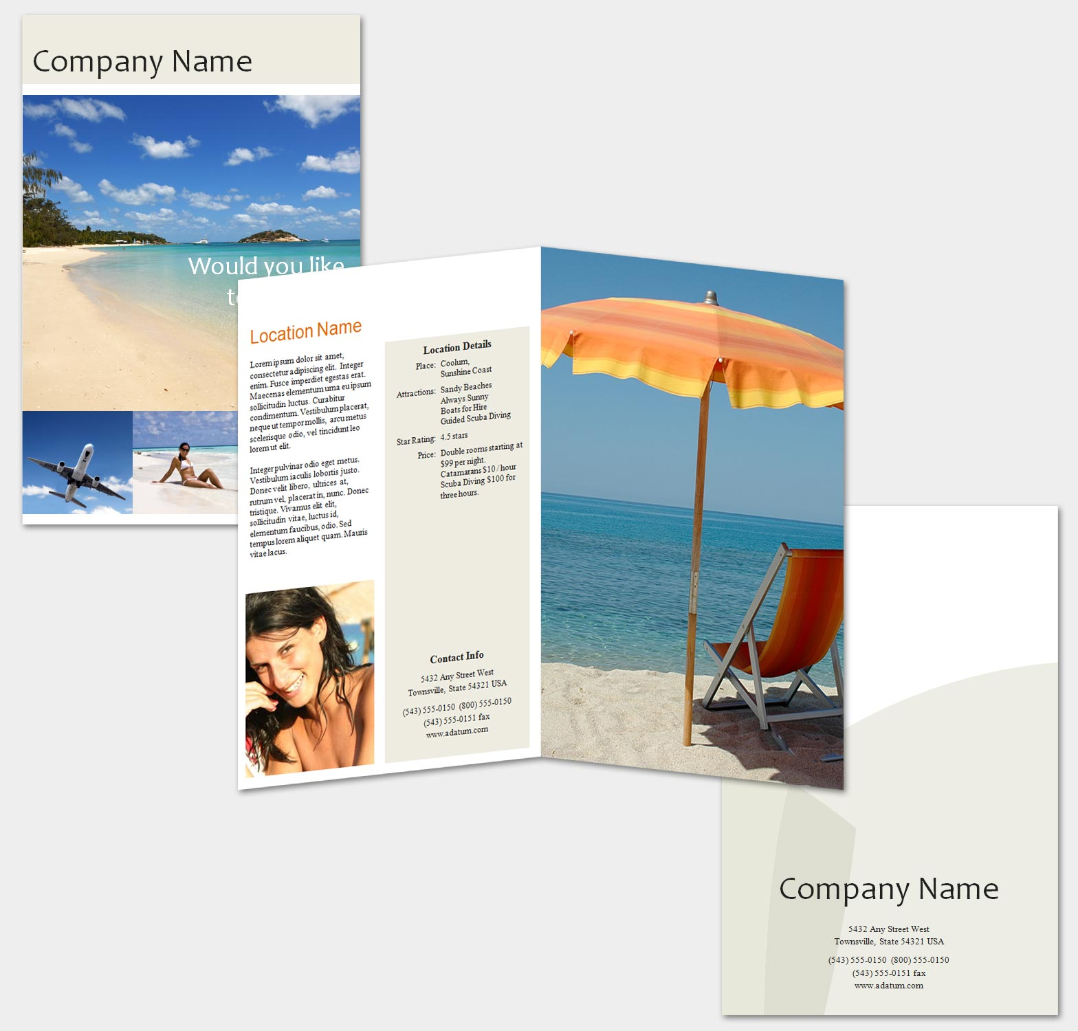 Free travel brochure template for Travel brochure templates