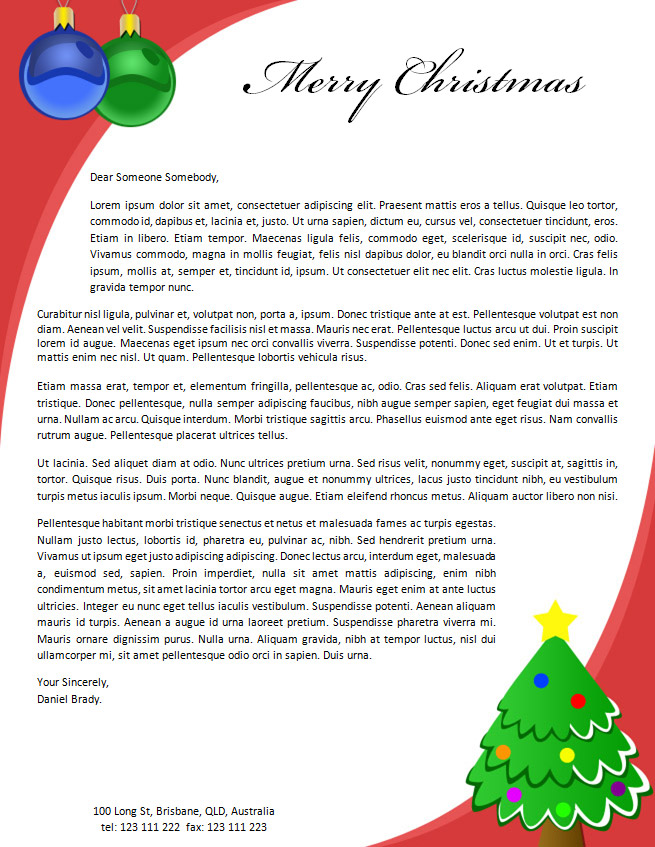 Christmas Photo Letter Template  Microsoft Word Christmas Letter Template